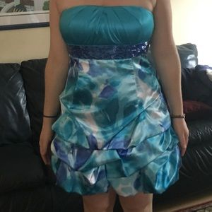 Semi-formal turquoise dress